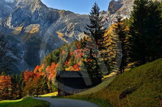A small road in the alpine autumn landscape of...