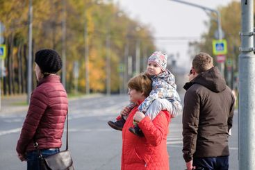 Moscow. Russia. October 11, 2020 A little toddler girl...