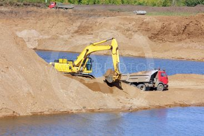 sandpit - excavator and tipper