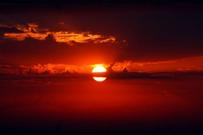 dramatic red sunrise