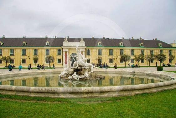 Shonbrunn Palace and area foreground Vienna Austria