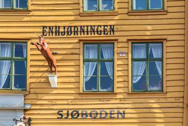 Unicorn Boathouse in Bryggen in Bergen Norway