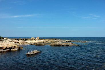 Mediterranean Sea coastline cliffs with clear sky