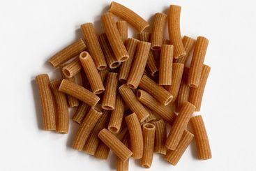 Raw whole grain brown pasta