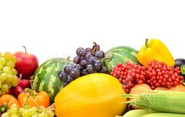 Composition fresh ripe fruits and vegetables isolated on...