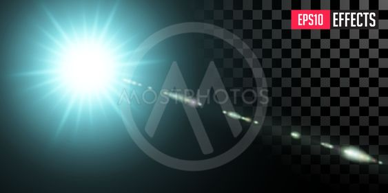 Blue Star. Vector Transparent Sci-Fi Special Lens Flare...