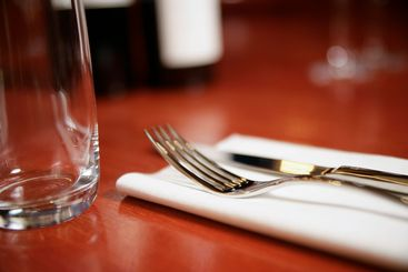 Glass, fork and knife on a table