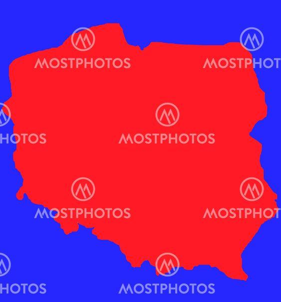 Rod Kontur Kort Over Polen Fra Speedfighter17 Mostphotos