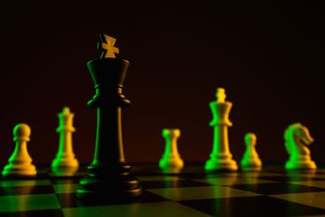 Chess pieces, king on a chessboard, game. The concept of...