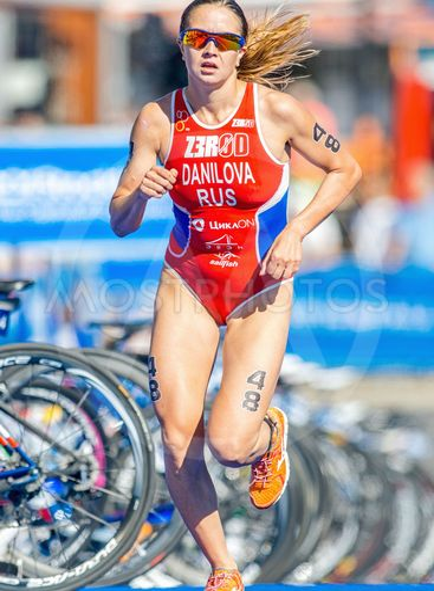 Elena Danilova (RUS) running on blue mat at the Womens...