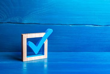 Blue voting tick. Checkbox. Choice and guarantee...