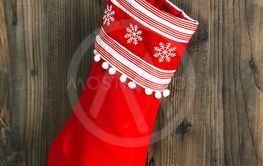 Christmas stocking. Red sock for Santa gifts. Holidays...