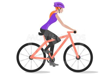 Vector illustration of cyclist girl on bike; biker and...