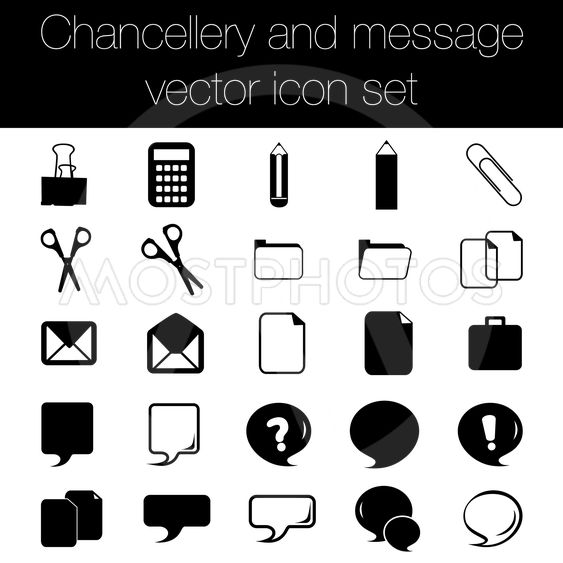 Chancellery and message vector icon set