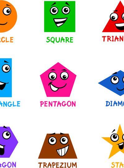 Basic Geometric Shapes with Cartoon Faces