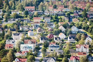 Residential area in Sundsvall from above