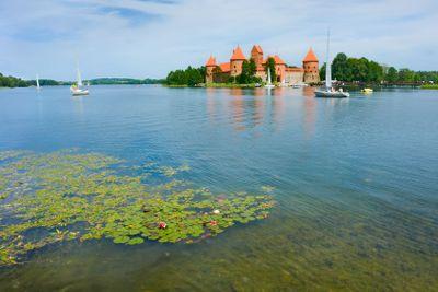 Castle on lake Galve in Trakai, Lithuania