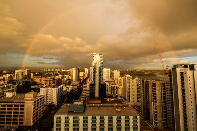Perth Skyline with Rainbow