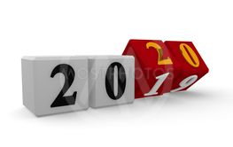 New Year 2020 concept 3d image on a white background