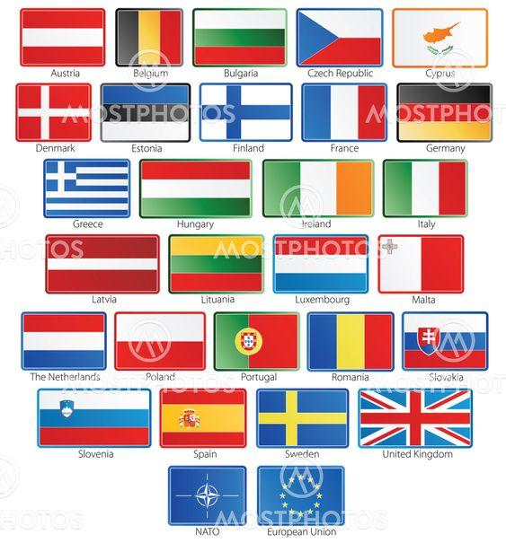 27 Eu Flag Buttons Plus Nat By Domen Colja Sp Mostphotos