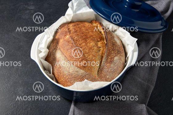 homemade craft bread in ceramic baking dish