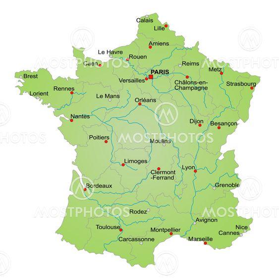 Karta Over Frankrike Av Kaarsten Mostphotos
