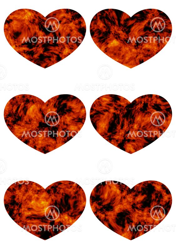 Prints with decorative hearts