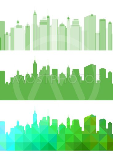 Abstract Green panorama city. Eco town background