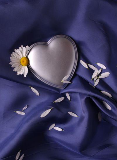 Heart on blue satin