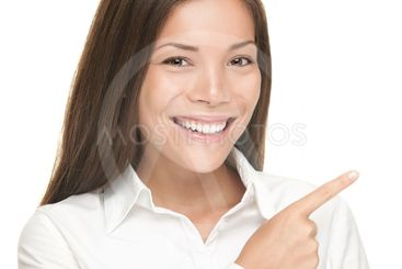 Woman pointing portrait isolated