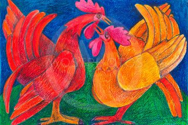 domestic animals. village roosters