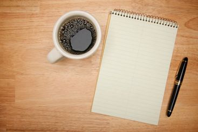 Blank Pad of Paper, Pen & Coffee