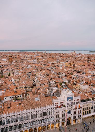 Panoramic view of the island city of Venice in Italy,...
