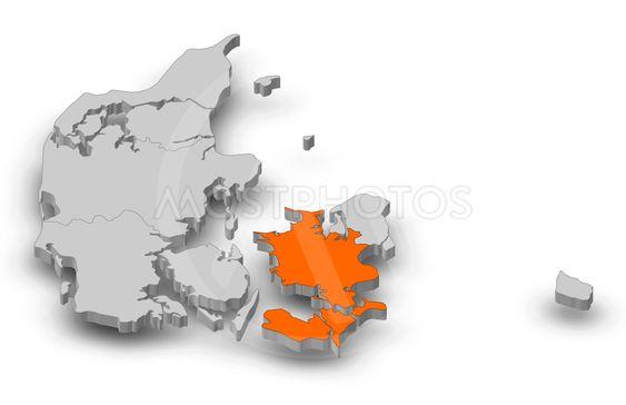 Map - Danmark, Zealand - 3D-Illustration