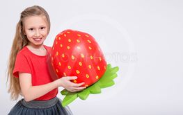 portrait of cute little girl with big artificial...
