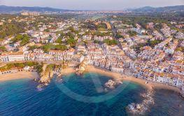 Drone picture over the Costa Brava coastal, small...