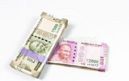 Top view of 500 and 2000 rupee Indian currency bundle