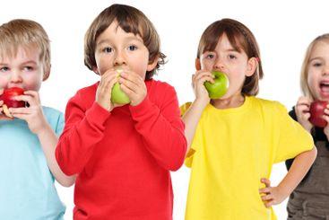 Healthy eating group of kids children apple fruit...