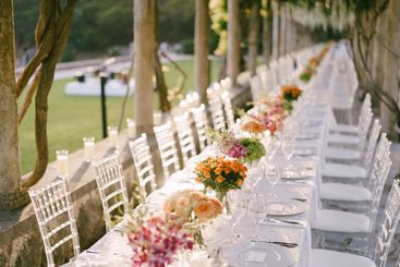Wedding dinner table reception. A very long wedding...