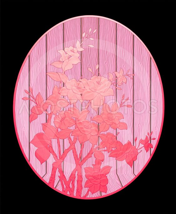 Pattern of Red flower on wood with black background