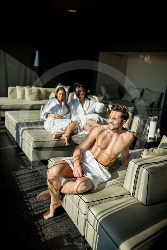 Man with a towel in a room