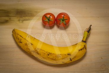 Smiley from tomatoes and banana