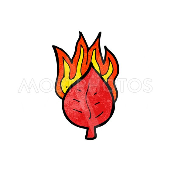 cartoon leaf on fire symbol