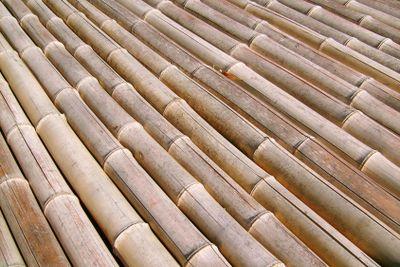 Bamboo floor in the street under sun beams
