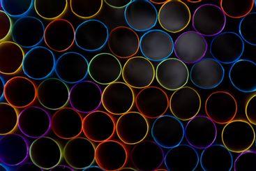colorful plastic straws seen