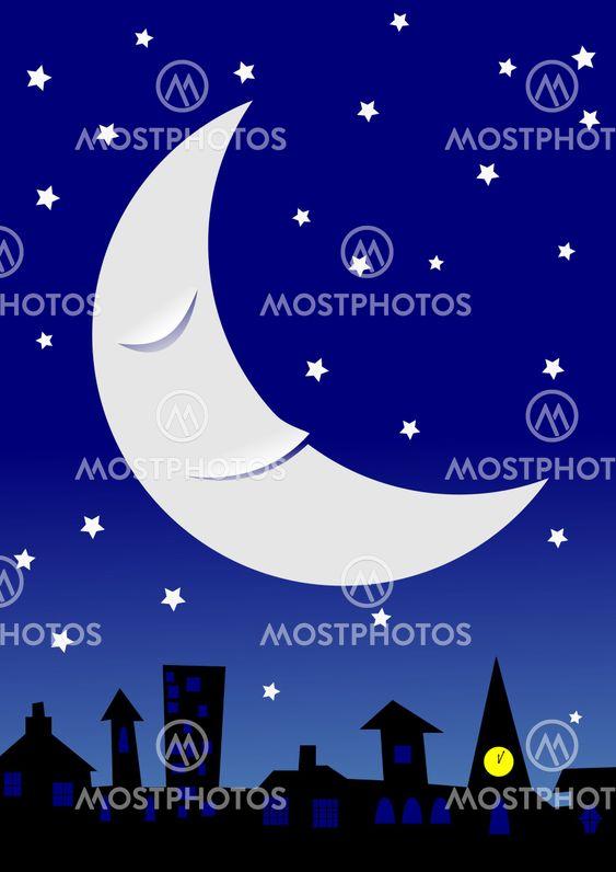 Sovende Månen i en stjerneklar nattehimmel over en townscape.