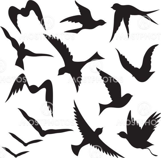 Flying bird silhouettes
