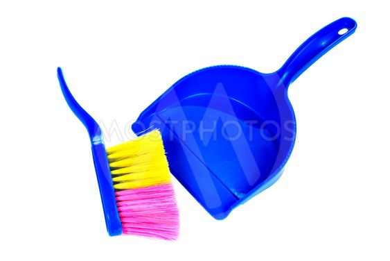 Brush and dustpan isolated