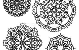 Set of Round floral lace ornaments - black on white...