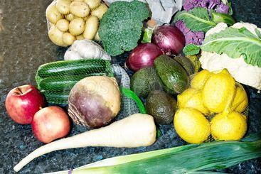 A mixed fresh vegitable display